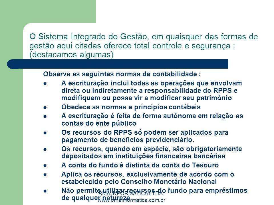 BMA INFORMATICA LTDA. www.bmainformatica.com.br O Sistema Integrado de Gestão, em quaisquer das formas de gestão aqui citadas oferece total controle e
