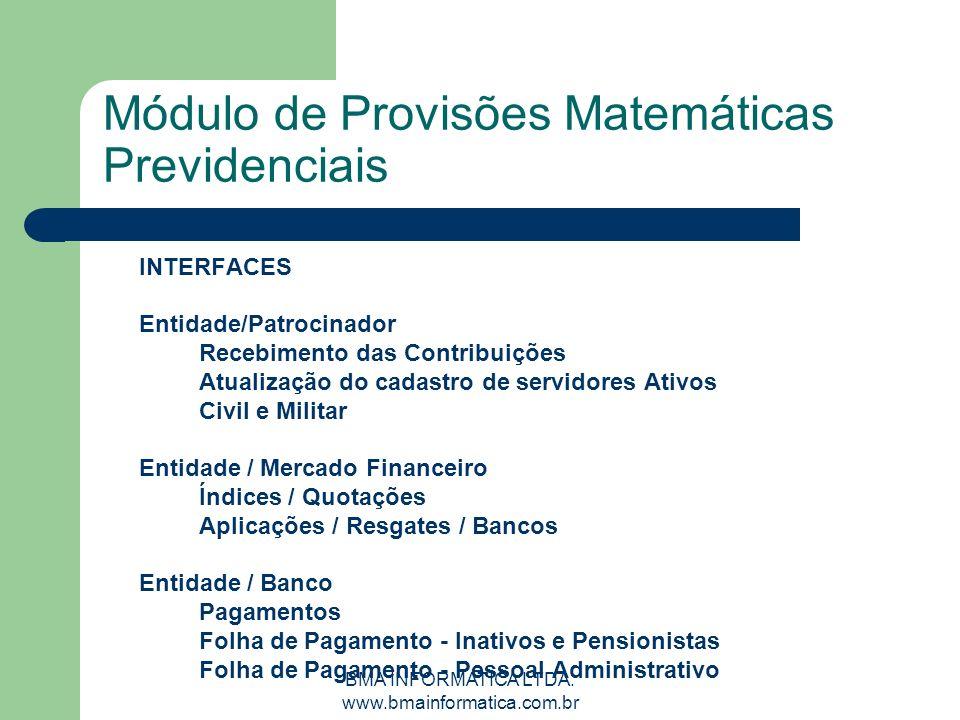 BMA INFORMATICA LTDA. www.bmainformatica.com.br Módulo de Provisões Matemáticas Previdenciais INTERFACES Entidade/Patrocinador Recebimento das Contrib