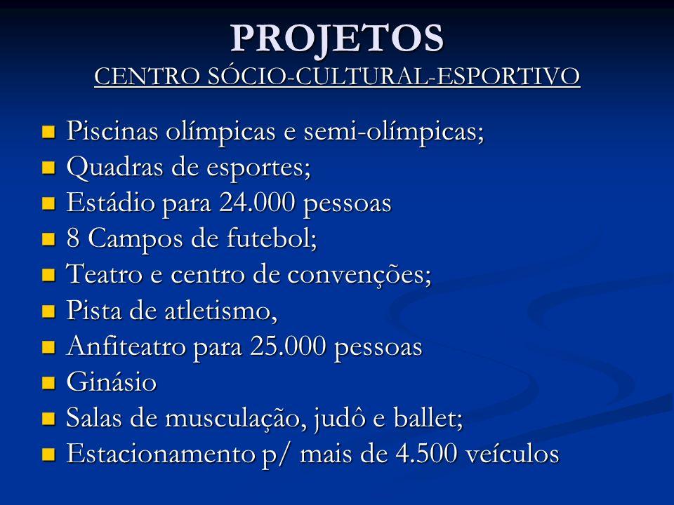 PROJETOS CENTRO SÓCIO-CULTURAL-ESPORTIVO Piscinas olímpicas e semi-olímpicas; Piscinas olímpicas e semi-olímpicas; Quadras de esportes; Quadras de esp