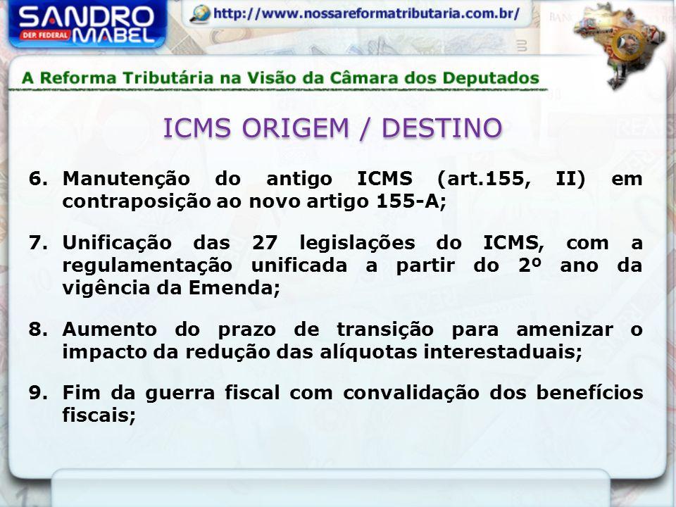 ICMS ORIGEM / DESTINO 6.Manutenção do antigo ICMS (art.155, II) em contraposição ao novo artigo 155-A; 7.Unificação das 27 legislações do ICMS, com a