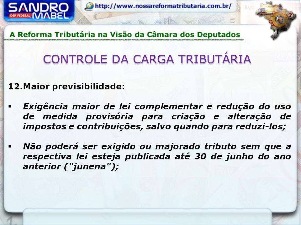 CONTROLE DA CARGA TRIBUTÁRIA 12.Maior previsibilidade: Exigência maior de lei complementar e redução do uso de medida provisória para criação e altera
