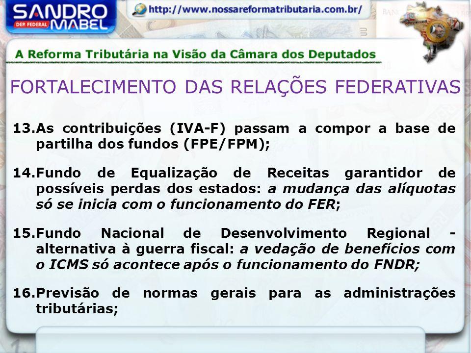 13.As contribuições (IVA-F) passam a compor a base de partilha dos fundos (FPE/FPM); 14.Fundo de Equalização de Receitas garantidor de possíveis perda