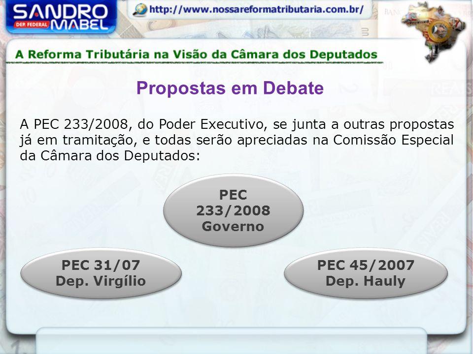 A PEC 233/2008, do Poder Executivo, se junta a outras propostas já em tramitação, e todas serão apreciadas na Comissão Especial da Câmara dos Deputado
