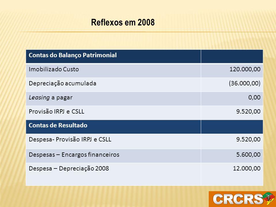Valor das parcelas pagas (12 x 3.800))45.600,00 Depreciação contabilizada em 2008 (12 x 1.000) (12.000,00) Encargos financeiros (12 x 460,67)(5.600,00) Efeito tributário líquido – EXCLUSÃO NO LALUR 28.000,00 IRPJ e CSSL Diferidos – 34%9.520,00 Tratamento tributário dos efeitos dos ajustes (Despesa de Depreciação x Prestação e juros)