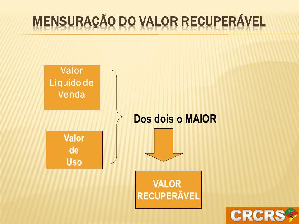 Valor de uso: é valor presente de fluxos de caixa futuros, que devem resultar do uso de um ativo ou de uma unidade geradora de caixa.