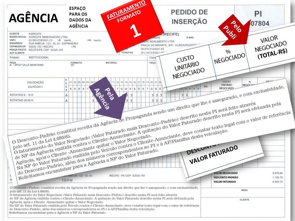 AGÊNCIA ESPAÇO PARA OS DADOS DA AGÊNCIA FATURAMENTO FORMATO 1 FATURAMENTO FORMATO 1 Pelo Publi Pelo Publi Pela Agência