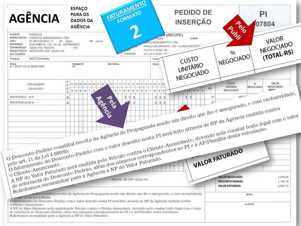 AGÊNCIA ESPAÇO PARA OS DADOS DA AGÊNCIA FATURAMENTO FORMATO 2 FATURAMENTO FORMATO 2 Pelo Publi Pelo Publi Pela Agência