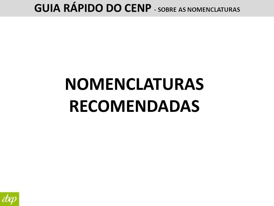 NOMENCLATURAS RECOMENDADAS GUIA RÁPIDO DO CENP - SOBRE AS NOMENCLATURAS