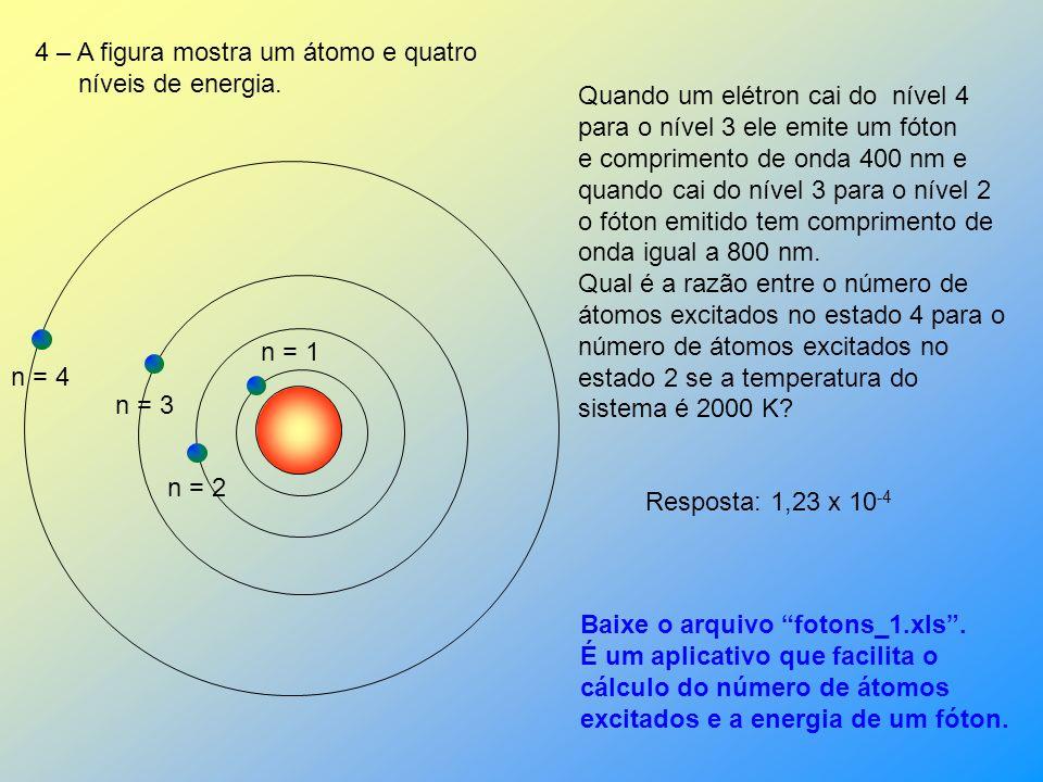 EXERCÍCIOS 5s 20,66 ev 4p 20,30 ev 4s 19,78 eV 3p 18,70 eV 3s 16,70 eV 2p 0 estado fundamental 1 – A figura ao lado mostra os níveis de energia de um
