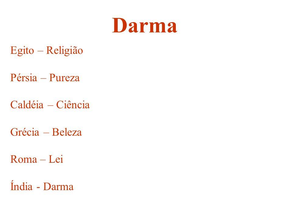 Egito – Religião Pérsia – Pureza Caldéia – Ciência Grécia – Beleza Roma – Lei Índia - Darma Darma
