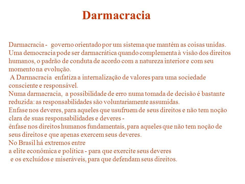 Darmacracia - governo orientado por um sistema que mantém as coisas unidas. Uma democracia pode ser darmacrática quando complementa à visão dos direit