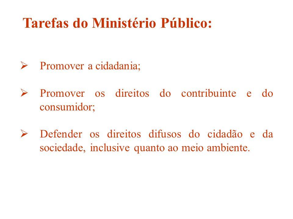 Promover a cidadania; Promover os direitos do contribuinte e do consumidor; Defender os direitos difusos do cidadão e da sociedade, inclusive quanto a