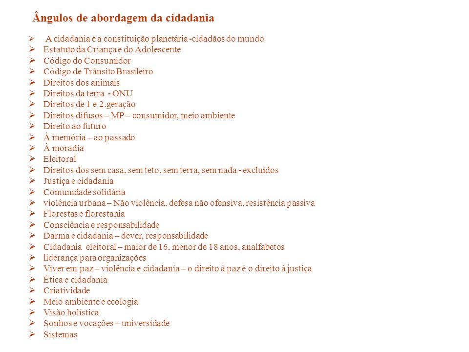 A cidadania e a constituição planetária -cidadãos do mundo Estatuto da Criança e do Adolescente Código do Consumidor Código de Trânsito Brasileiro Dir