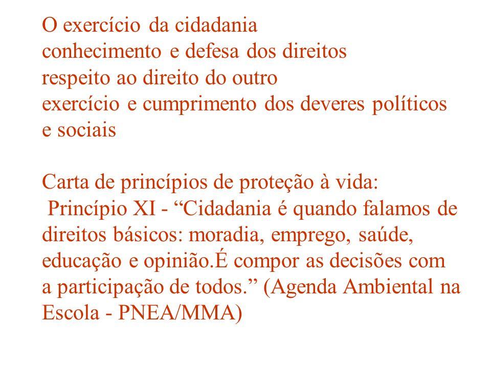 O exercício da cidadania conhecimento e defesa dos direitos respeito ao direito do outro exercício e cumprimento dos deveres políticos e sociais Carta