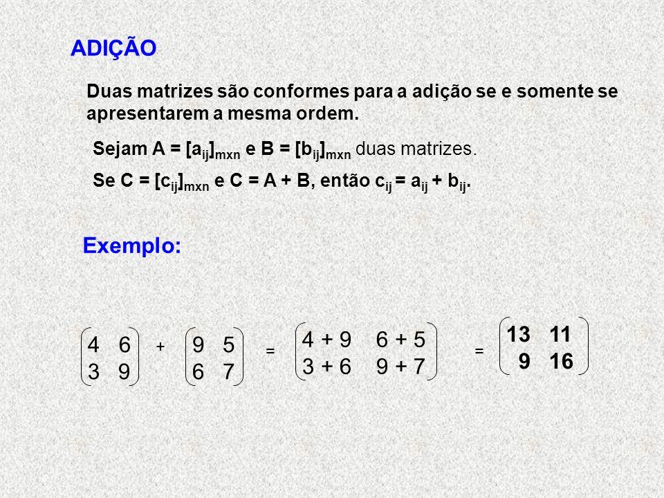 ADIÇÃO Duas matrizes são conformes para a adição se e somente se apresentarem a mesma ordem.