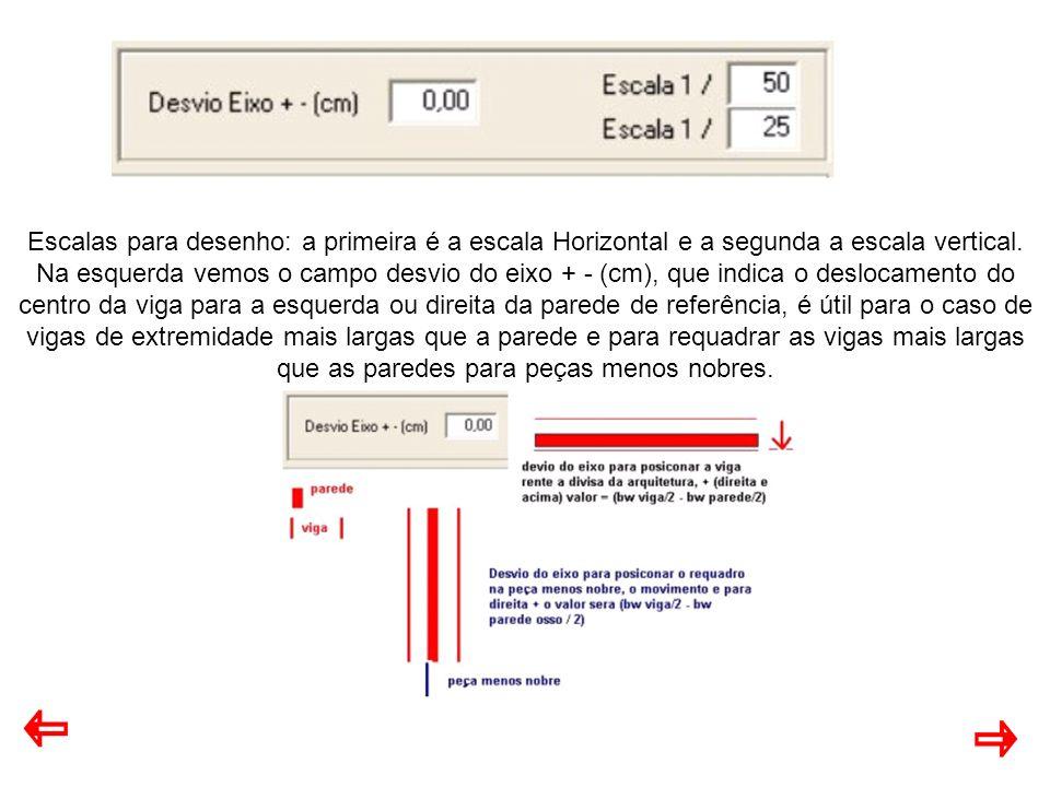 Escalas para desenho: a primeira é a escala Horizontal e a segunda a escala vertical. Na esquerda vemos o campo desvio do eixo + - (cm), que indica o