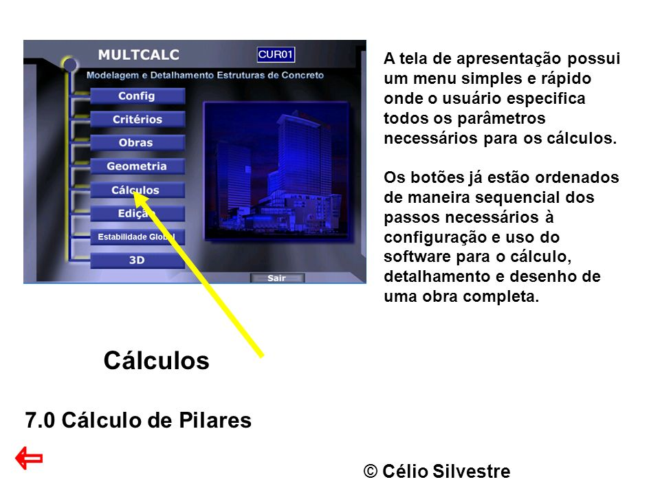 © Célio Silvestre Cálculos 7.0 Cálculo de Pilares A tela de apresentação possui um menu simples e rápido onde o usuário especifica todos os parâmetros