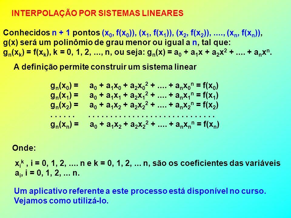 INTERPOLAÇÃO POR SISTEMAS LINEARES Conhecidos n + 1 pontos (x 0, f(x 0 )), (x 1, f(x 1 )), (x 2, f(x 2 )),...., (x n, f(x n )), g(x) será um polinômio de grau menor ou igual a n, tal que: g n (x k ) = f(x k ), k = 0, 1, 2,..., n, ou seja: g n (x) = a 0 + a 1 x + a 2 x 2 +....