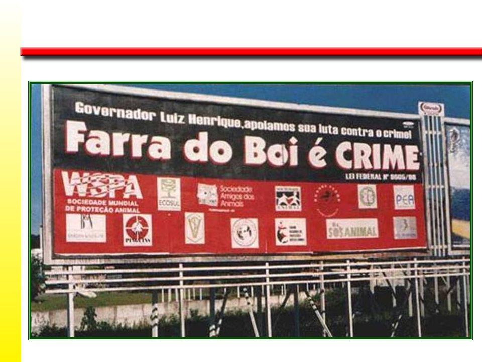A farra do boi foi proibida por força de acórdão do Supremo Tribunal Federal, na Ação Civil Pública nº 023.89.030082-0, promovida pela APANDE, entidad