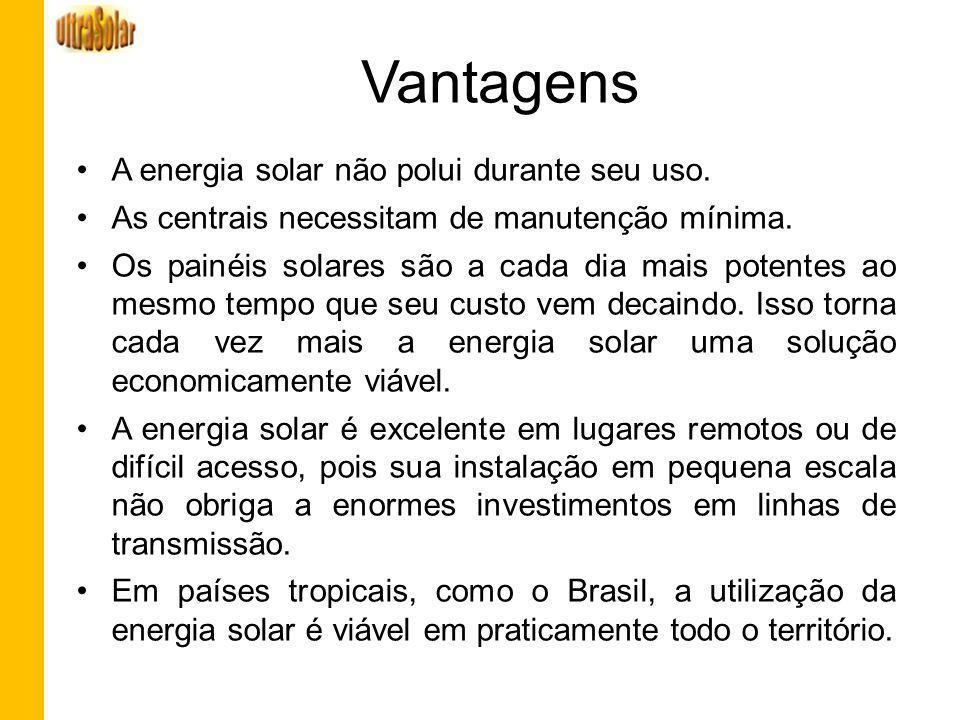 Vantagens A energia solar não polui durante seu uso. As centrais necessitam de manutenção mínima. Os painéis solares são a cada dia mais potentes ao m