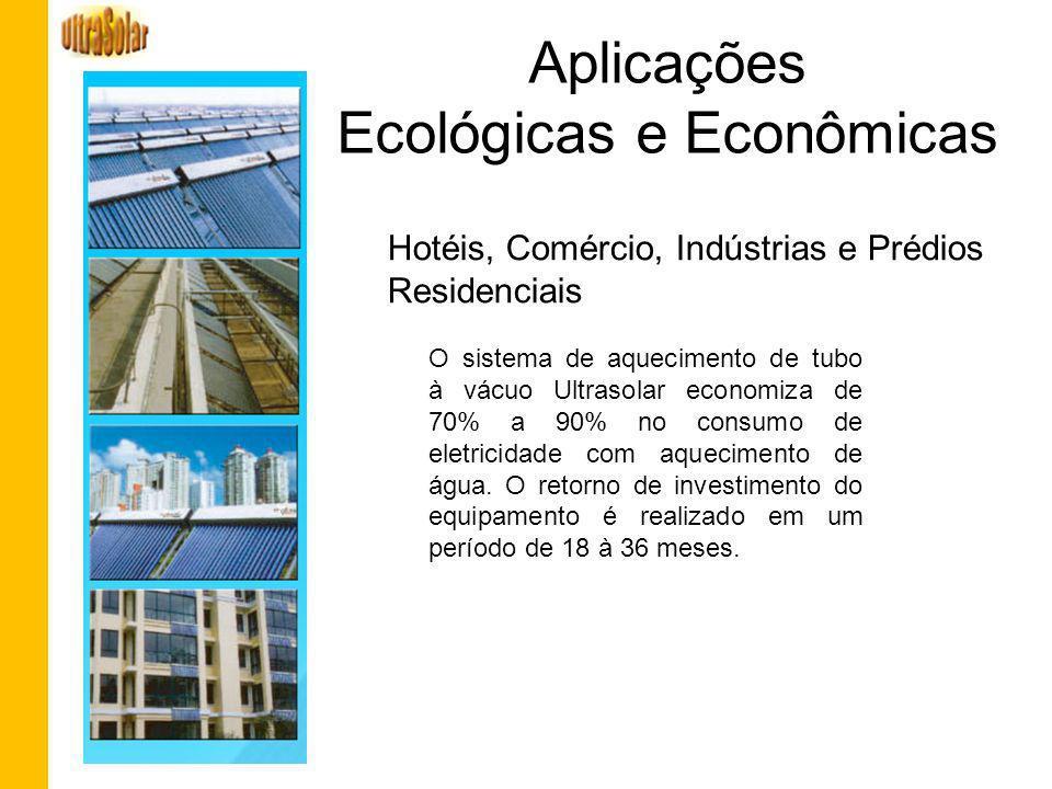 Aplicações Ecológicas e Econômicas O sistema de aquecimento de tubo à vácuo Ultrasolar economiza de 70% a 90% no consumo de eletricidade com aquecimen