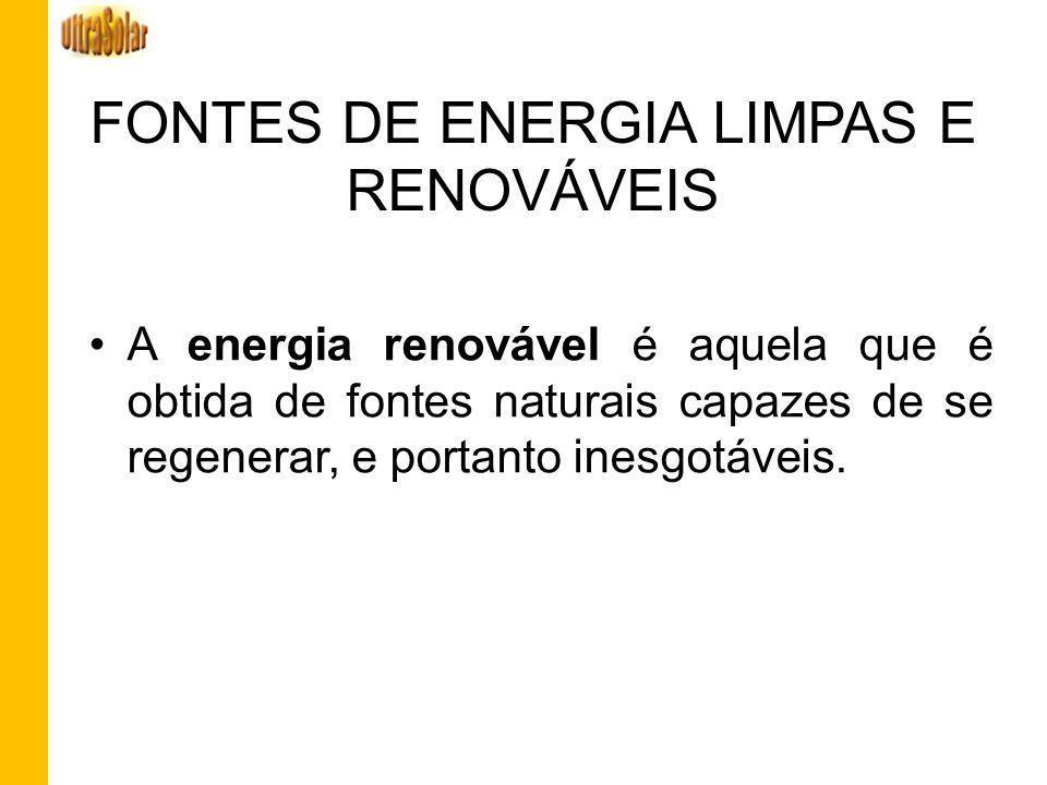FONTES DE ENERGIA LIMPAS E RENOVÁVEIS A energia renovável é aquela que é obtida de fontes naturais capazes de se regenerar, e portanto inesgotáveis.