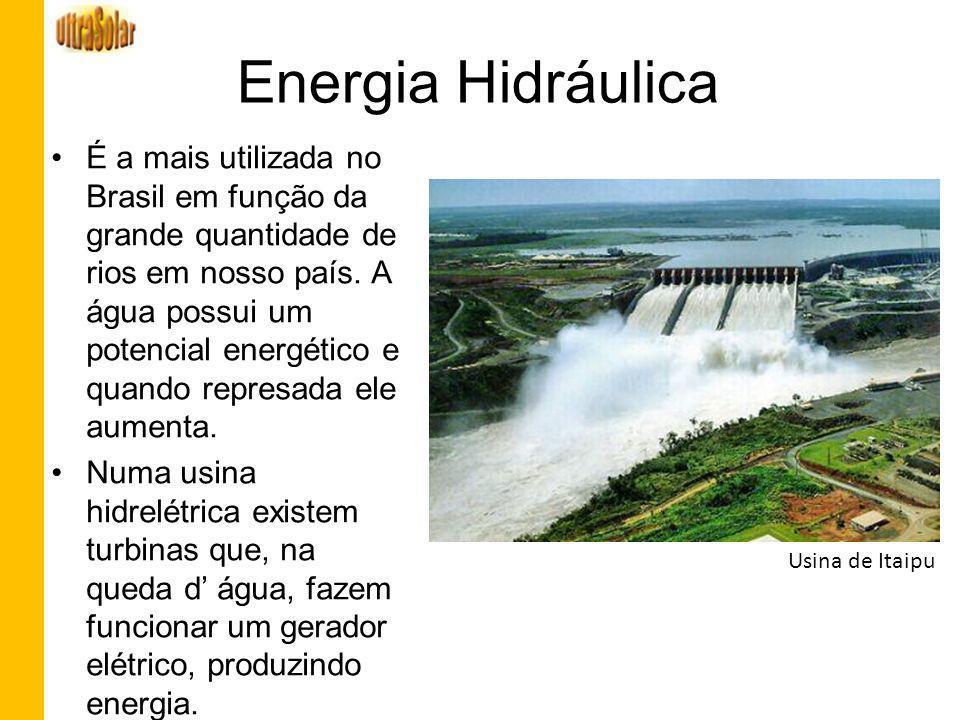 Energia Hidráulica É a mais utilizada no Brasil em função da grande quantidade de rios em nosso país. A água possui um potencial energético e quando r