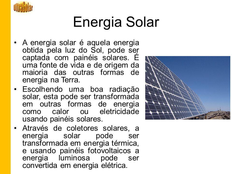 Energia Solar A energia solar é aquela energia obtida pela luz do Sol, pode ser captada com painéis solares. É uma fonte de vida e de origem da maiori