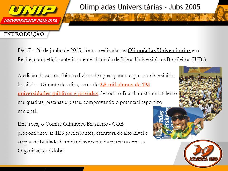 EDIÇÃO 2005 A primeira Olimpíada Universitária marcou o início de uma grande parceria entre as Federações, a CBDU, o COB – Comitê Olímpico Brasileiro e a Rede Globo.
