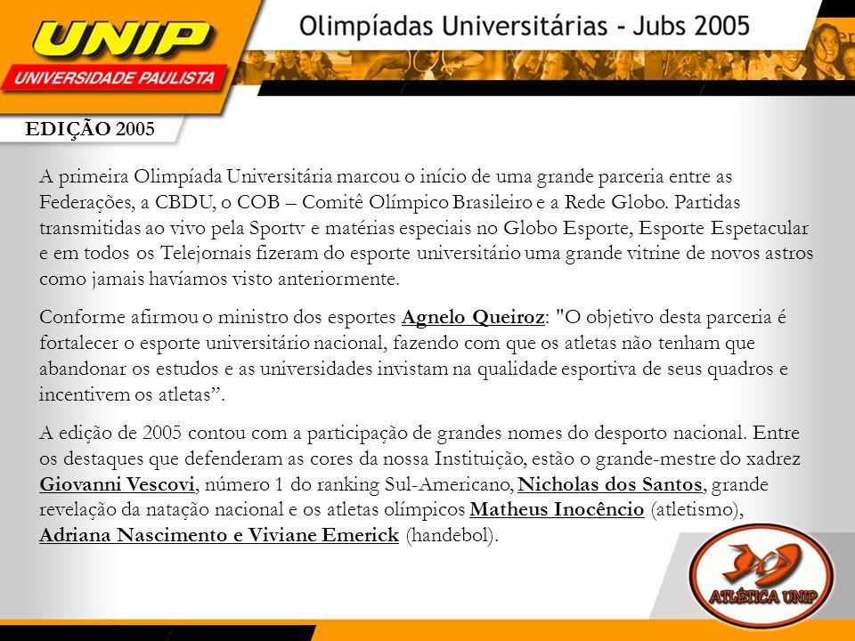 EDIÇÃO 2005 A primeira Olimpíada Universitária marcou o início de uma grande parceria entre as Federações, a CBDU, o COB – Comitê Olímpico Brasileiro