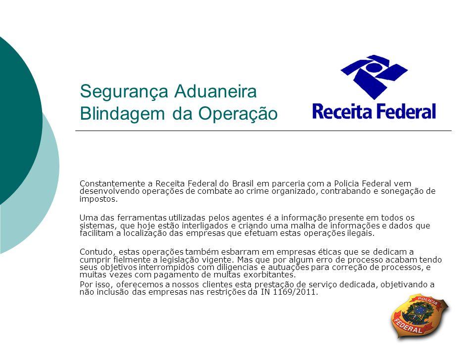 Segurança Aduaneira Blindagem da Operação Constantemente a Receita Federal do Brasil em parceria com a Policia Federal vem desenvolvendo operações de
