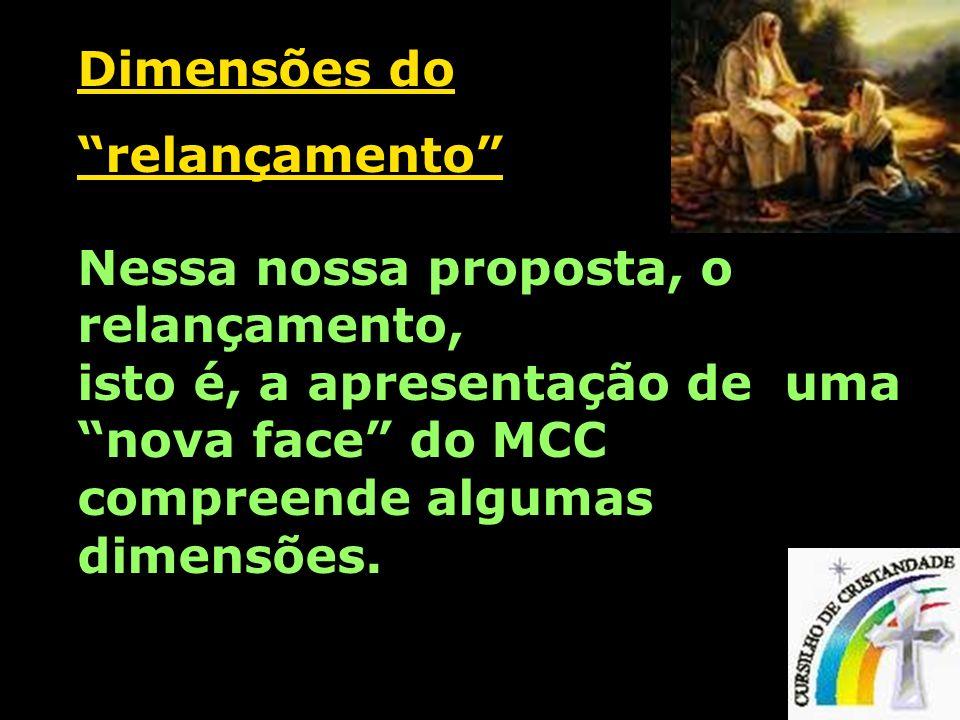 Dimensões do relançamento Nessa nossa proposta, o relançamento, isto é, a apresentação de uma nova face do MCC compreende algumas dimensões.