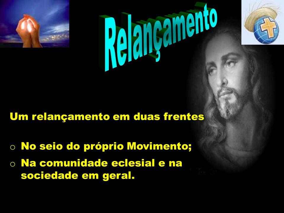 Relançamento Um relançamento em duas frentes o No seio do próprio Movimento; o Na comunidade eclesial e na sociedade em geral.