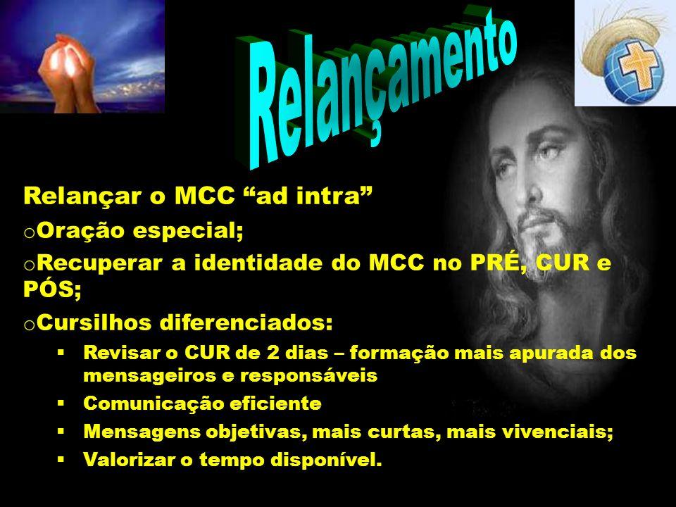 Relançamento Relançar o MCC ad intra o Oração especial; o Recuperar a identidade do MCC no PRÉ, CUR e PÓS; o Cursilhos diferenciados: Revisar o CUR de