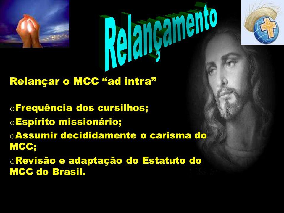 Relançamento Relançar o MCC ad intra o Frequência dos cursilhos; o Espírito missionário; o Assumir decididamente o carisma do MCC; o Revisão e adaptaç