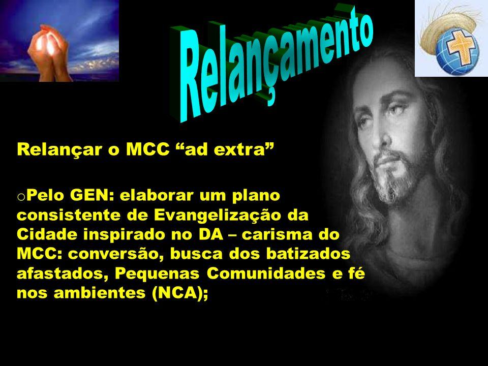 Relançamento Relançar o MCC ad extra o Pelo GEN: elaborar um plano consistente de Evangelização da Cidade inspirado no DA – carisma do MCC: conversão,