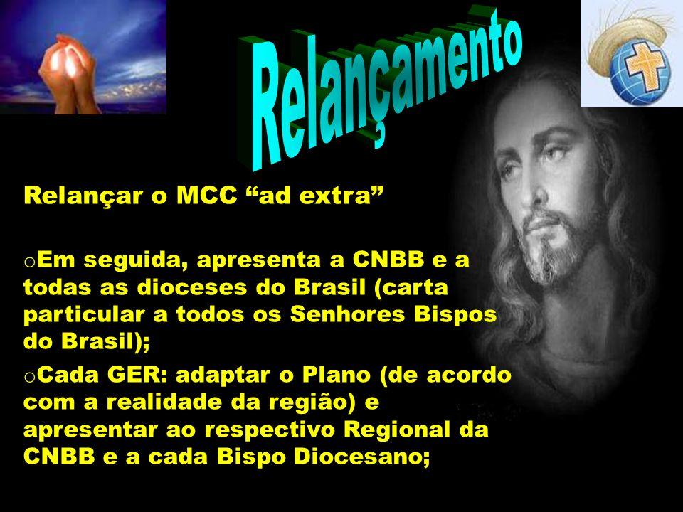 Relançamento Relançar o MCC ad extra o Em seguida, apresenta a CNBB e a todas as dioceses do Brasil (carta particular a todos os Senhores Bispos do Br