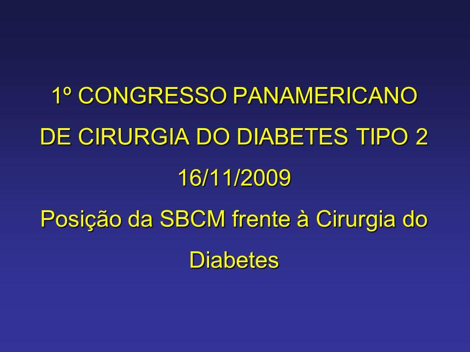 1º CONGRESSO PANAMERICANO DE CIRURGIA DO DIABETES TIPO 2 16/11/2009 Posição da SBCM frente à Cirurgia do Diabetes