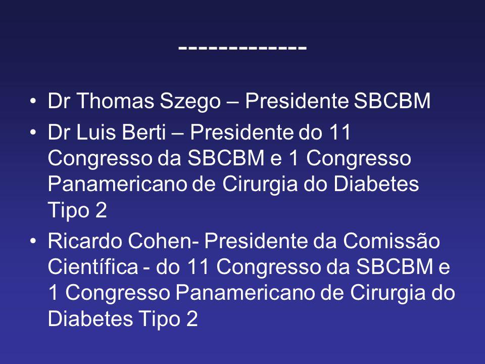 ------------- Dr Thomas Szego – Presidente SBCBM Dr Luis Berti – Presidente do 11 Congresso da SBCBM e 1 Congresso Panamericano de Cirurgia do Diabetes Tipo 2 Ricardo Cohen- Presidente da Comissão Científica - do 11 Congresso da SBCBM e 1 Congresso Panamericano de Cirurgia do Diabetes Tipo 2