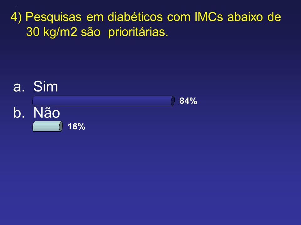 4) Pesquisas em diabéticos com IMCs abaixo de 30 kg/m2 são prioritárias. A B a.Sim b.Não