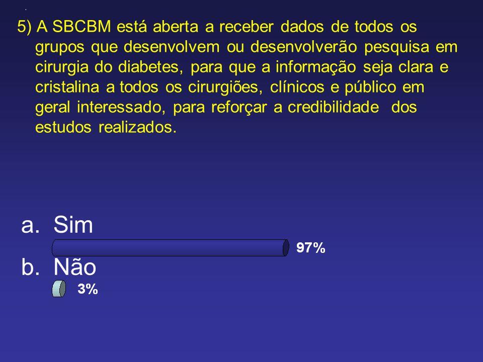 5) A SBCBM está aberta a receber dados de todos os grupos que desenvolvem ou desenvolverão pesquisa em cirurgia do diabetes, para que a informação sej
