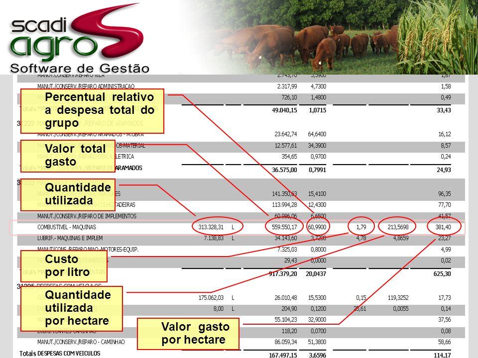 Quantidade utilizada Valor total gasto Percentual relativo a despesa total do grupo Custo por litro Quantidade utilizada por hectare Valor gasto por hectare