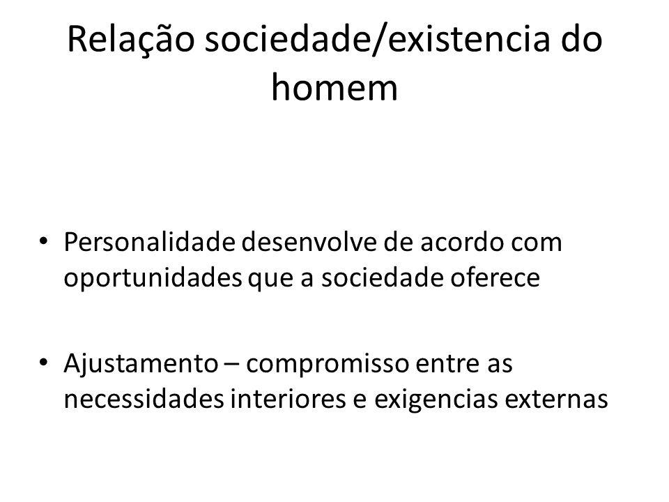 Relação sociedade/existencia do homem Personalidade desenvolve de acordo com oportunidades que a sociedade oferece Ajustamento – compromisso entre as