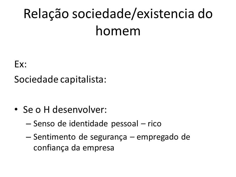 Relação sociedade/existencia do homem Ex: Sociedade capitalista: Se o H desenvolver: – Senso de identidade pessoal – rico – Sentimento de segurança –