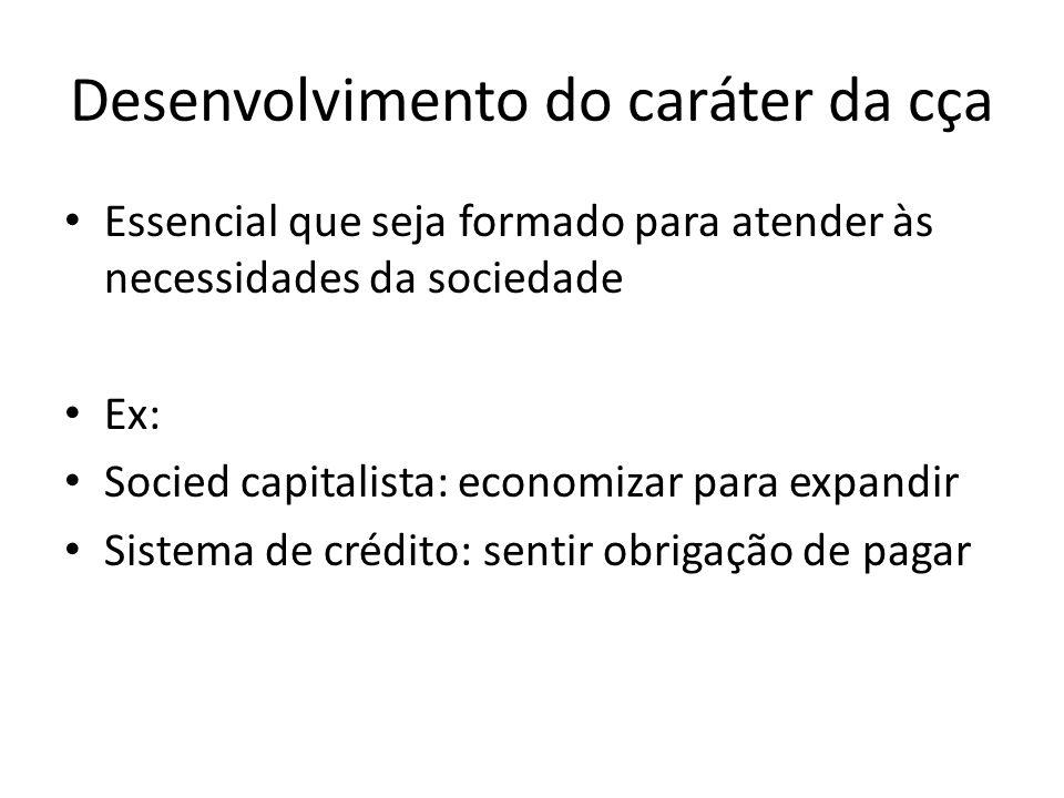 Desenvolvimento do caráter da cça Essencial que seja formado para atender às necessidades da sociedade Ex: Socied capitalista: economizar para expandi