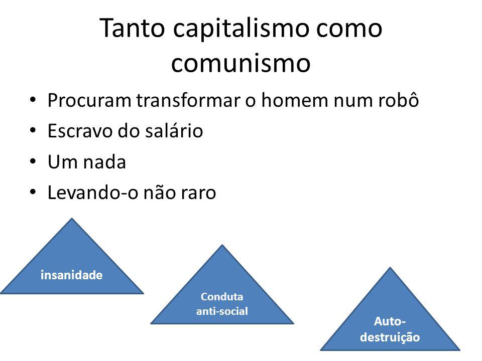 Tanto capitalismo como comunismo Procuram transformar o homem num robô Escravo do salário Um nada Levando-o não raro insanidade Conduta anti-social Au