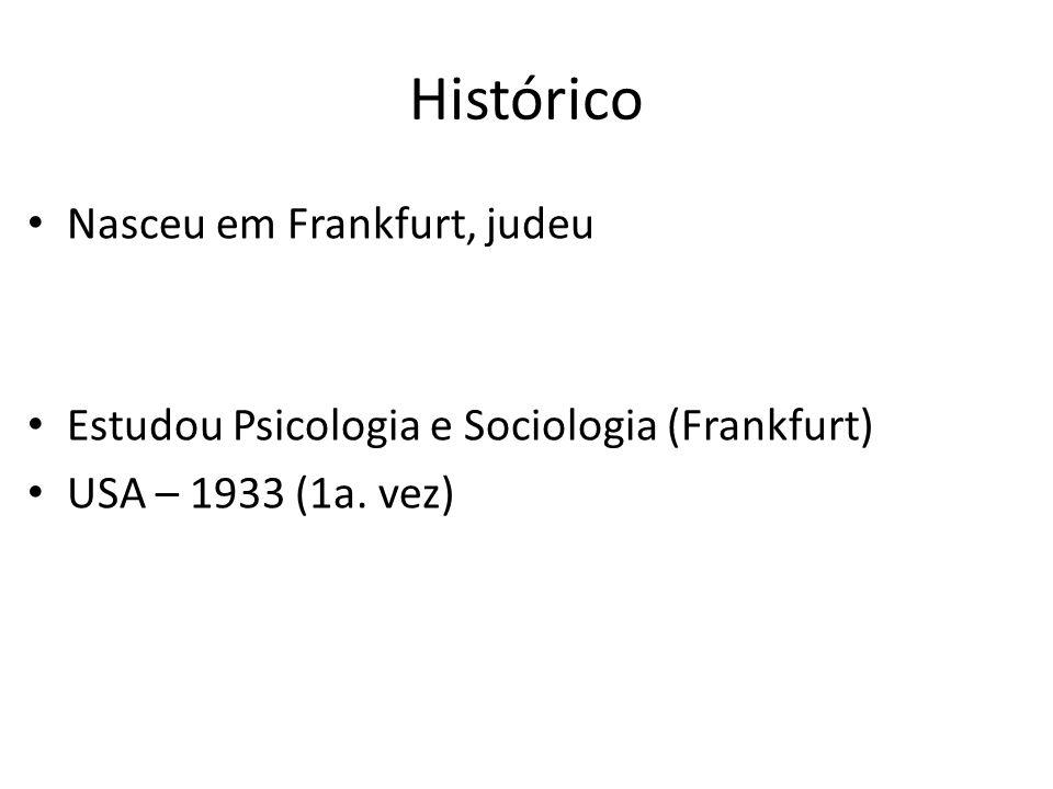 Histórico Nasceu em Frankfurt, judeu Estudou Psicologia e Sociologia (Frankfurt) USA – 1933 (1a. vez)