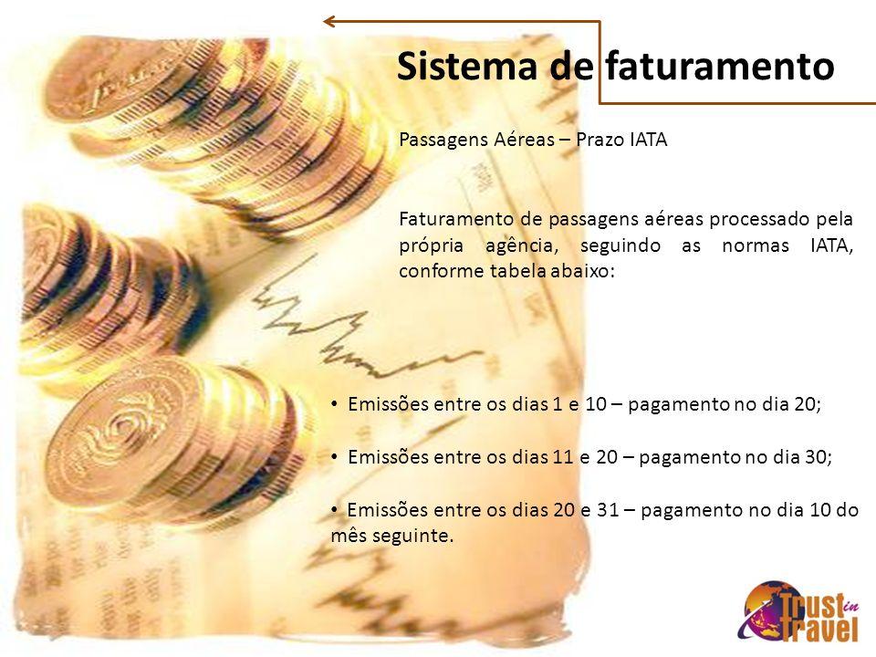 Sistema de faturamento Passagens Aéreas – Prazo IATA Faturamento de passagens aéreas processado pela própria agência, seguindo as normas IATA, conforme tabela abaixo: Emissões entre os dias 1 e 10 – pagamento no dia 20; Emissões entre os dias 11 e 20 – pagamento no dia 30; Emissões entre os dias 20 e 31 – pagamento no dia 10 do mês seguinte.