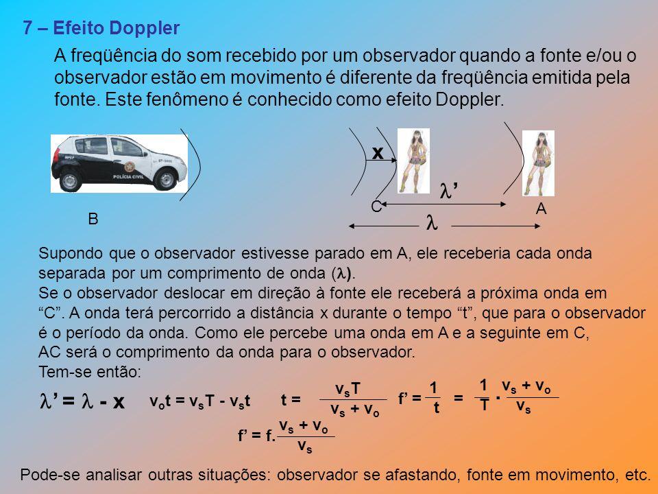 7 – Efeito Doppler A freqüência do som recebido por um observador quando a fonte e/ou o observador estão em movimento é diferente da freqüência emitid