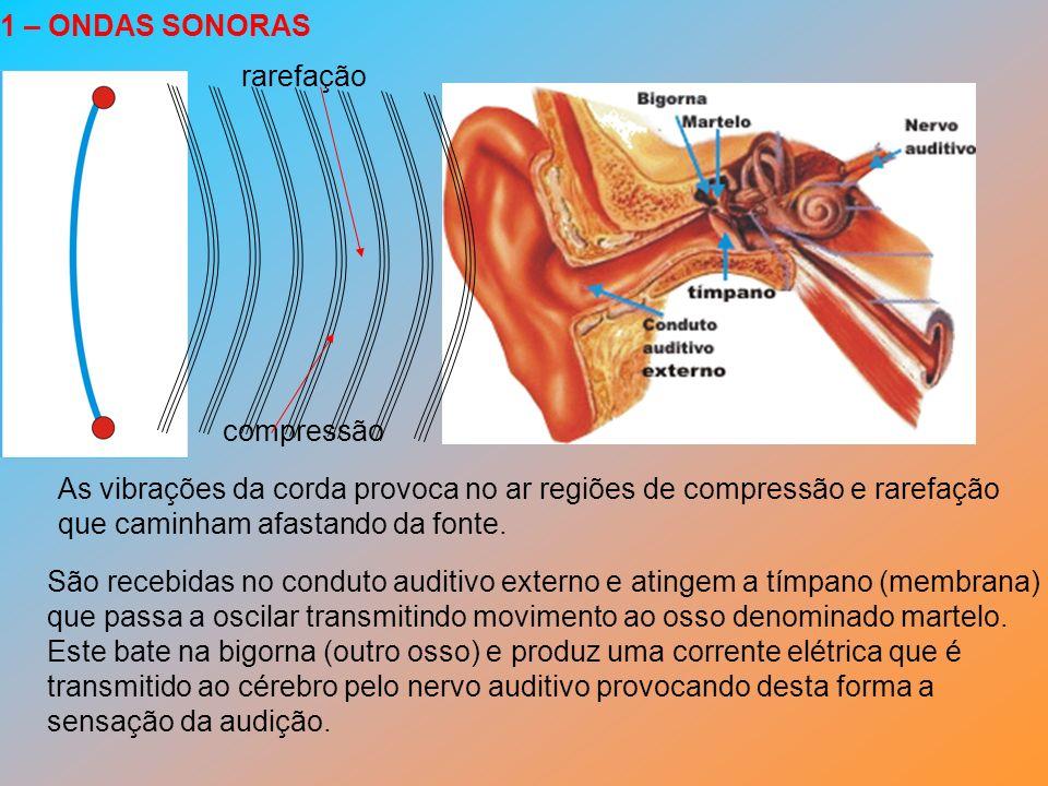 As vibrações da corda provoca no ar regiões de compressão e rarefação que caminham afastando da fonte. São recebidas no conduto auditivo externo e ati